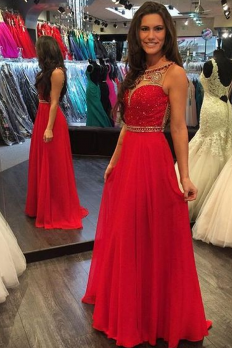 Charming Prom Dress,Beading Prom Dress,A-Line Prom Dress,Chiffon Evening Dress