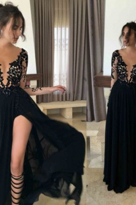 Charming Prom Dress,Lace Prom Dress,Long-Sleeves Prom Dress,Appliques Evening Dress
