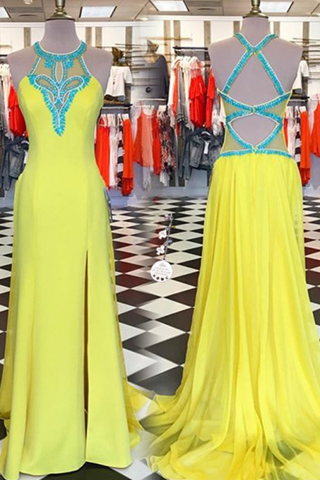 Yellow Sleeves Long Prom Dresses,Beading Prtom Gowns,Prom Dresses,For Teens,Modest Evening Dresses.Charming Party Dresses,Women Dresses
