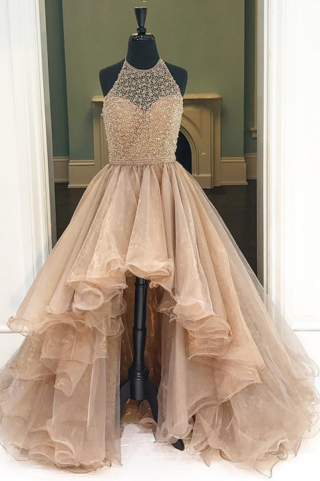 Prom GownProm Gown,Champagne High Low Tulle Prom Dress Featuring Halter Neck Bodice, Party Dresses 2016,Long Prom Gown,Sparkly Open Backs Prom Dress For Teens