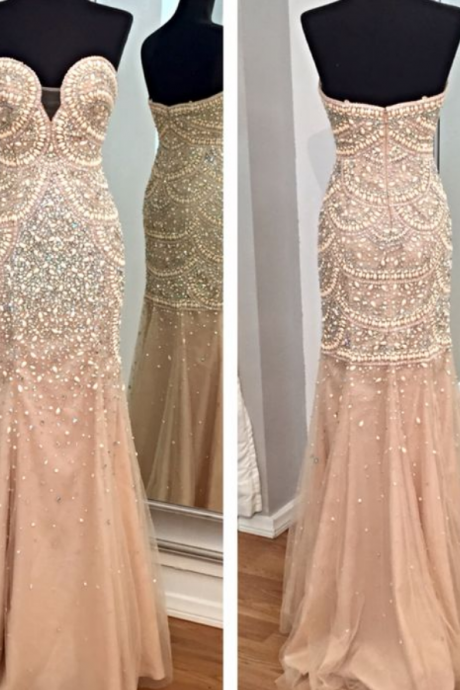 Prom Gown,Champagne Prom Dresses,Mermaid Prom Gowns,Tulle Prom Dresses,Beading Prom Dresses,Mermaid Prom Gown,2016 Prom Dress,Evening Gonw With Silver Beading For Teens