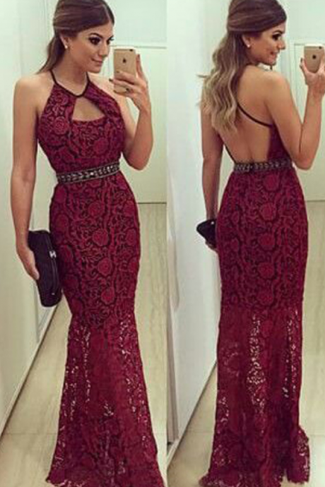 Burgundy Prom Dresses,Backless Prom Dress,Lace Prom Dress,Wine Red Prom Dresses,2016 Formal Gown,Open Back Evening Gowns,Open Backs Party Dress,Beaded Prom Gown For Teens