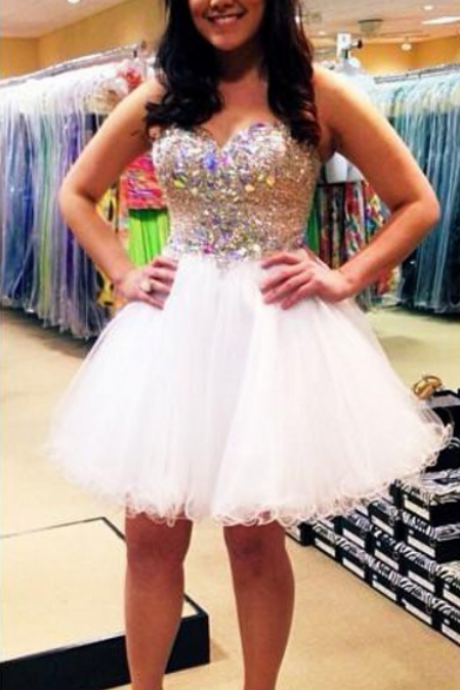 Homecoming Dresses,White Homecoming Dress,2016,Tulle Prom Dress,Short Homecoming Dress,Sexy Short Prom Dress with Ruffles,Graduation Dress