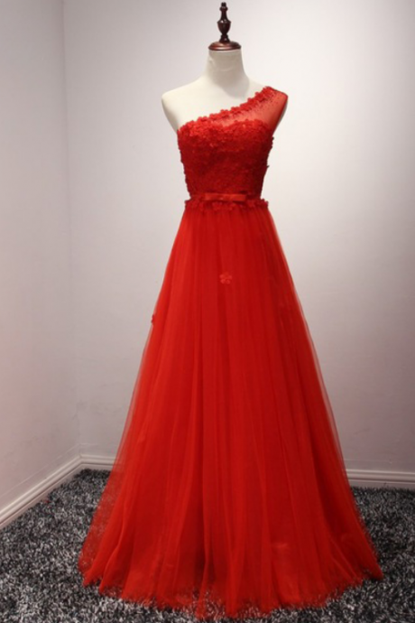 Prom Dresses, Prom Dresses with Flowers, Red Tulle Prom Dresses, One Shoulder Prom Dresses, Red Prom Dresses, Long Prom Dresses, 2017 Prom Dresses, Delicate Prom Dresses, Prom Dress, Party Dresses, Evening Gowns, Prom Dress 2017, Wedding Party Dresses, Custom Made