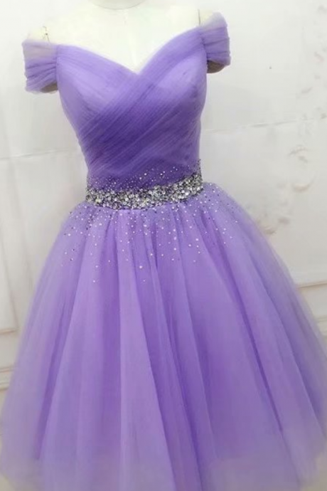 Lavender V Neck Homecoming Dresses Beaded Women Party Dresses