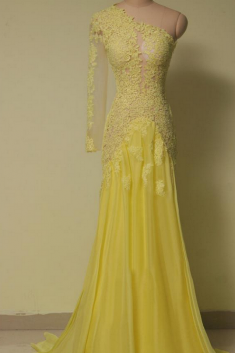 One Shoulder Prom Dresses,Lace Evening Dress,Chiffon Prom Dress,Yellow Prom Dresses