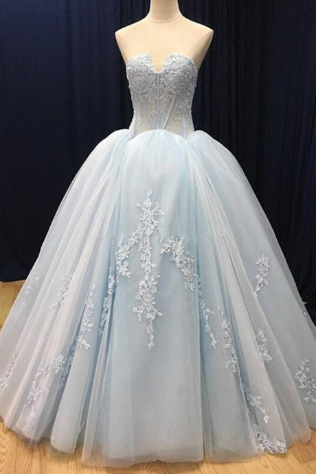 Blue tulle customize long V neck high waist evening dress, long formal prom dress