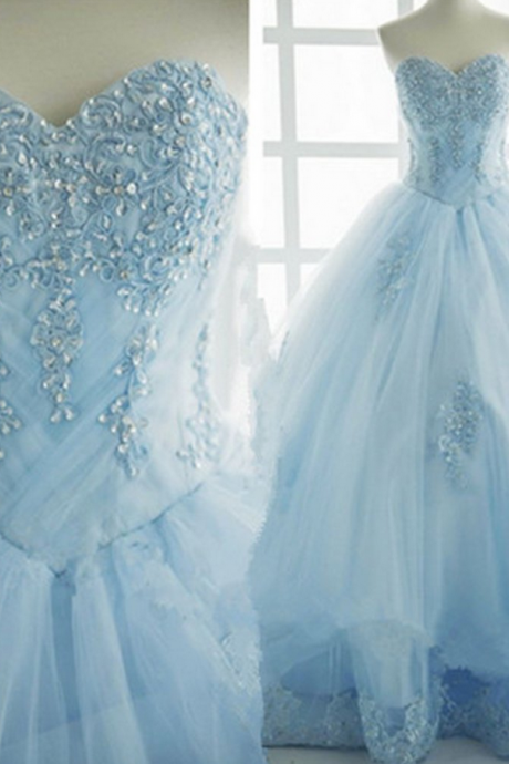 Princess ice blue tulle high waist long sweet prom dress with appliqués, beaded long evening dress