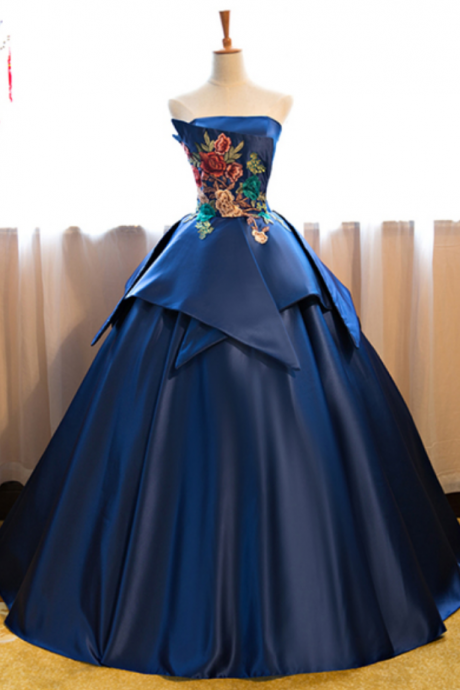 Navy blue strapless long vintage prom dress, long customize evening dress