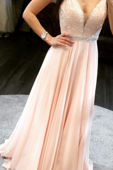 Charming prom dress V neck line party dress Chiffon Prom Dress with Beads Long Evening Dress from fancy dress
