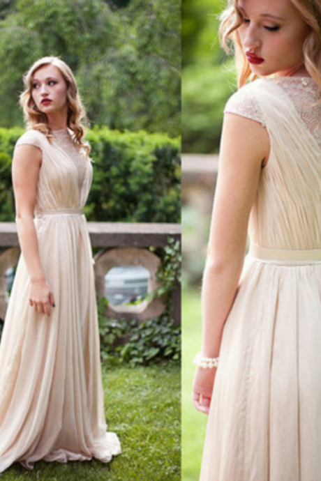 Ivory Chiffon Long Prom Dresses, A Line Prom Dresses, Top Selling Lace Top Prom Dresses Long,Chiffon Bridesmaid Dresses