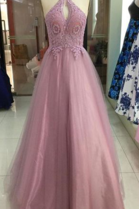 Dusty Rose Halter Lace Applique Tulle Backless Beads Long Prom Dress