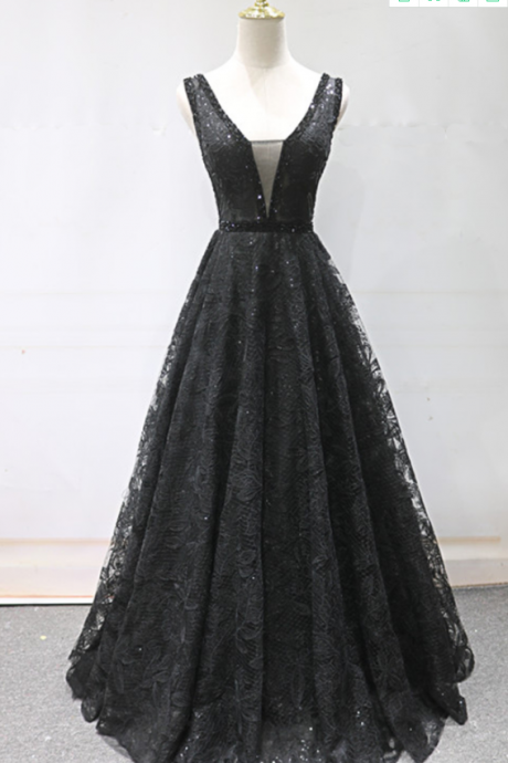 Black Lace V Neck Beaded Long Formal Prom Dress, Black Evening Dress