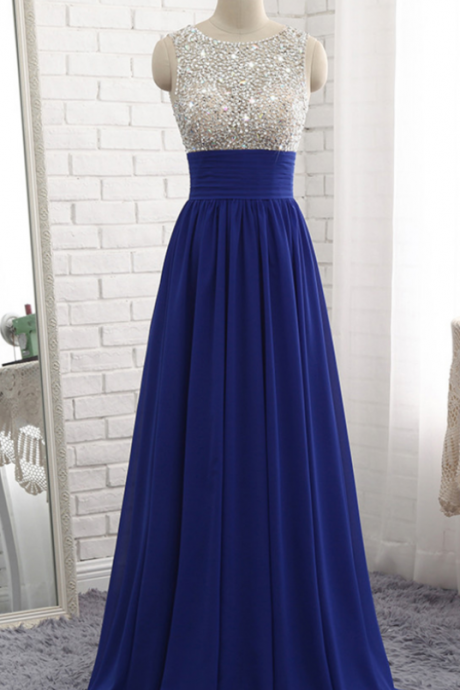 Royal Blue Chiffon Sequined Long A Line Prom Dress, Bridesmaid Dress