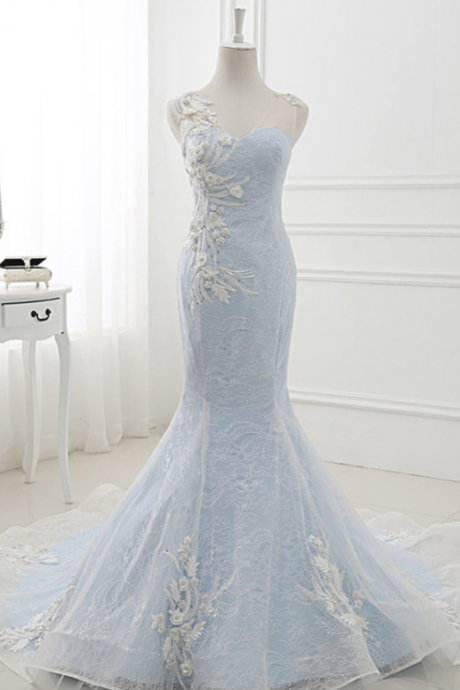 Baby Blue Sweep Train Lace Mermaid Evening Dress, Formal Dress With Applique