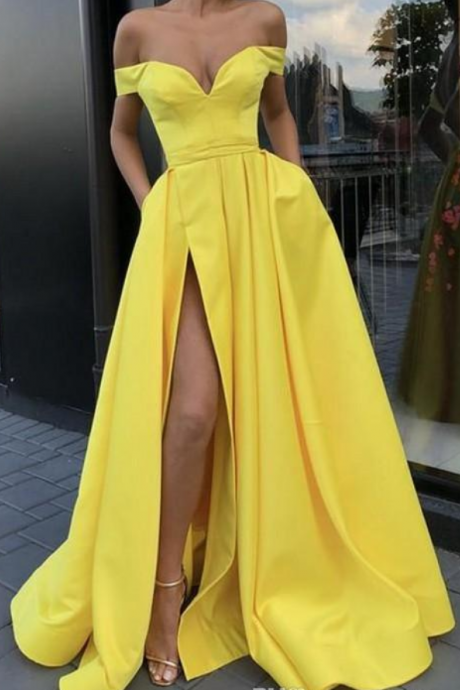 Simple Fashion Backless Sexy A-Line Yellow Off Shoulder High Side Split Evening Dress with Pockets Islamic Dubai Saudi Arabic Long Prom Gown