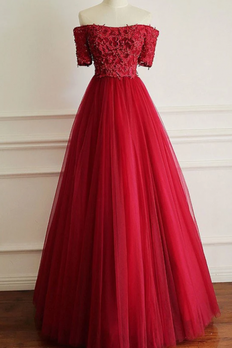 Decent Off Shoulder Short Sleeves Red Prom Dress with Beading