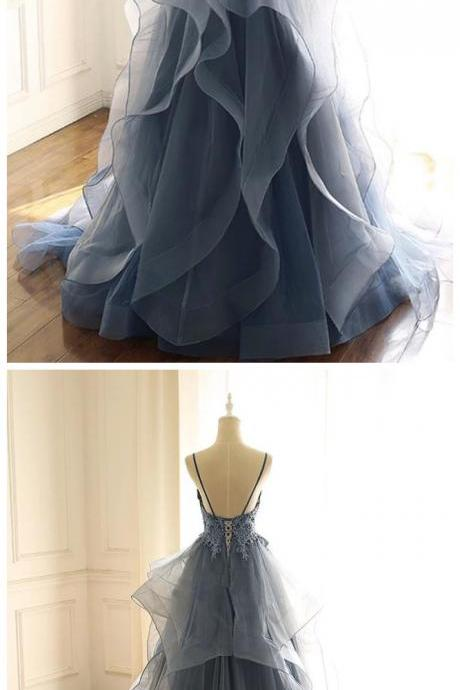 Blue Gray Tulle V Neck Long Ruffles Prom Dress, Lace Evening Dress