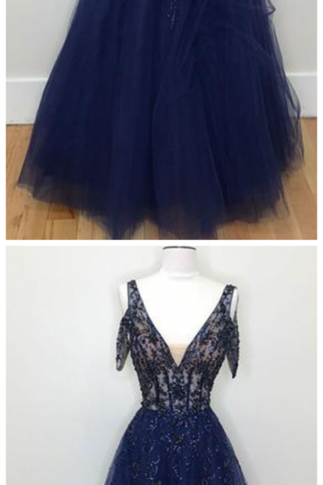 Dark Blue Tulle V Neck Lace Evening Dress, Beaded Prom Dress
