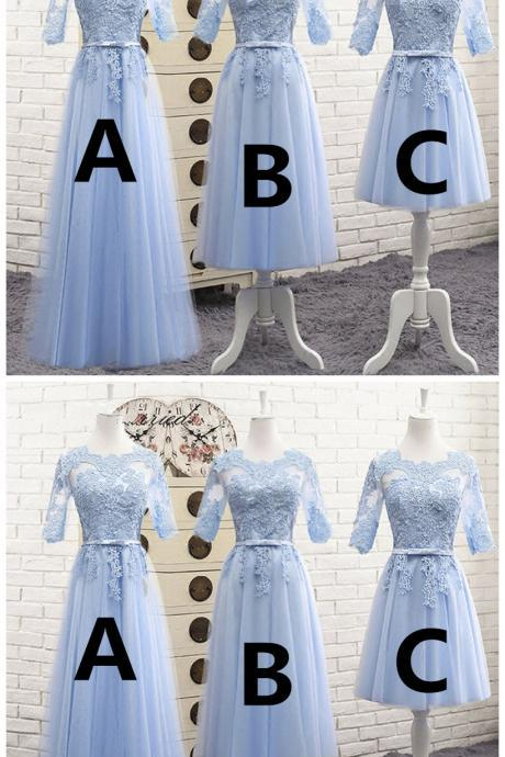 Light blue tulle mid sleeves long A-line bridesmaid dress, prom dress