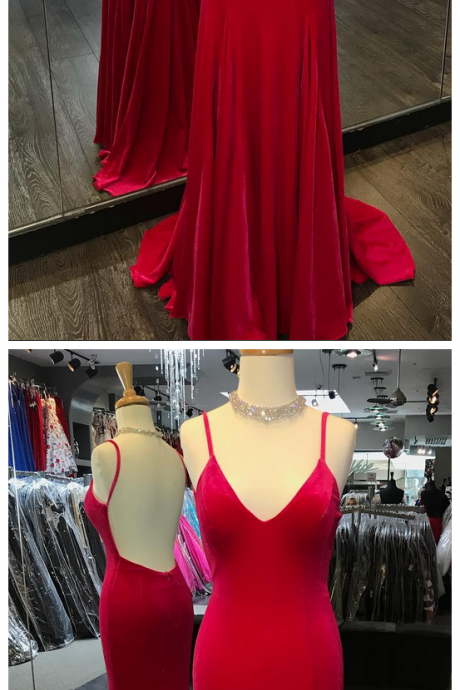 Red Mermaid Prom Dress, Sexy Backless Prom Dresses, Long Spaghetti Straps Evening Party Dress