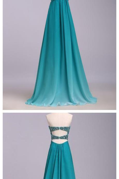 A line Blue Open Back Prom Dresses,Sequins Chiffon Sweetheart Evening Dresses,Sleeveless Ombre Ruffles Party Dresses,Prom Dresses