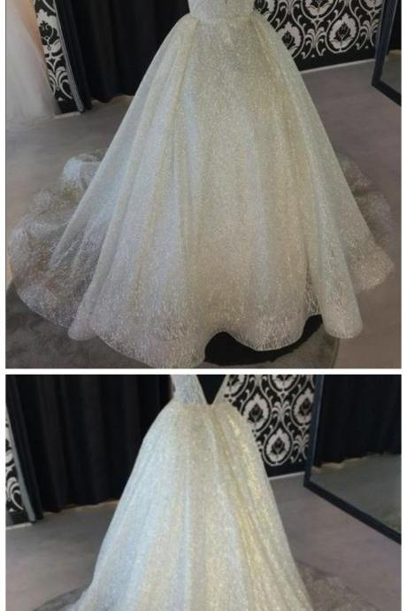 A-line V-neck Floor-Length Tulle Wedding Dresses With Sequins