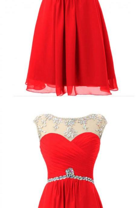 Red Bridesmaid Dress,Chiffon Short Prom Dress,Homecoming Dress