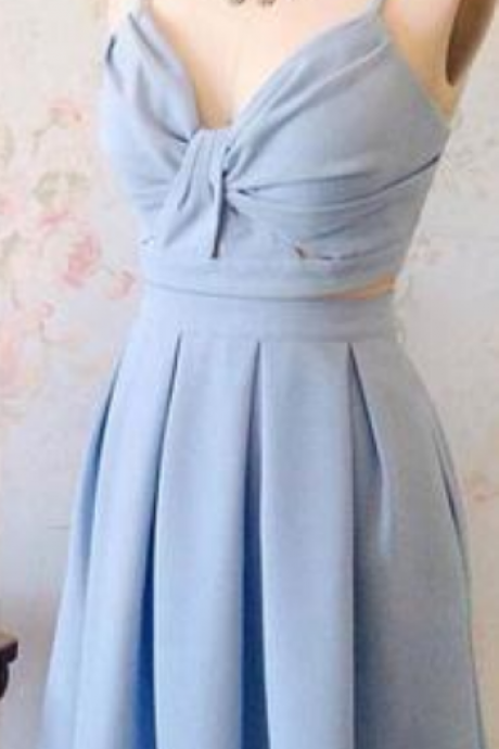 Cute two pieces blue short prom dress, blue homecoming dress