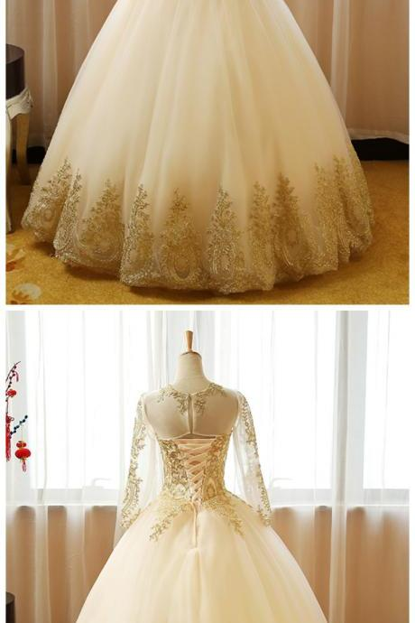 long Sleeves ball Gown Tulle Wedding Dress Golden Appliques