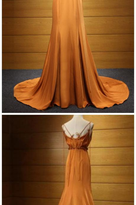 Sexy Evening Dress,Orange Party Dress, Prom Dress, Satin Evening Dress, Formal Dress,Custom Dress,New Fashion