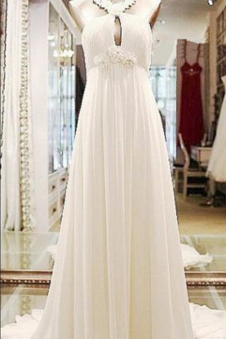 White Evening Dress,Chiffon Evening Dresses,Halter neck Dress,Sexy Backless Prom Dresses