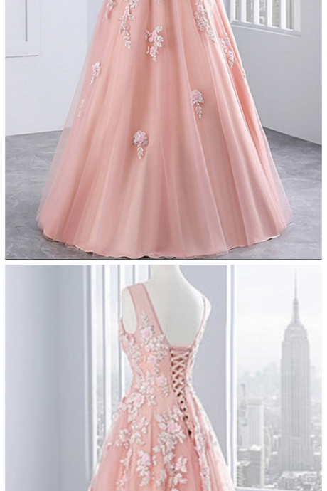 Pink tulle prom dresses,V neck evening dress with lace appliqués, long sweet 16 prom dresses