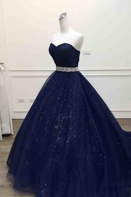 Dark Blue Prom Dresses,tulle Prom Dresses,Sweetheart Prom Dresses,Sequins Floor-length Prom Dresses.Ball Gown Prom Dress, Quinceanera