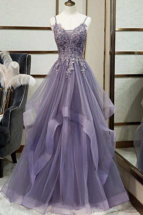 Tulle Long V-Neckline Straps Prom Dress, Evening Gown Formal Dress