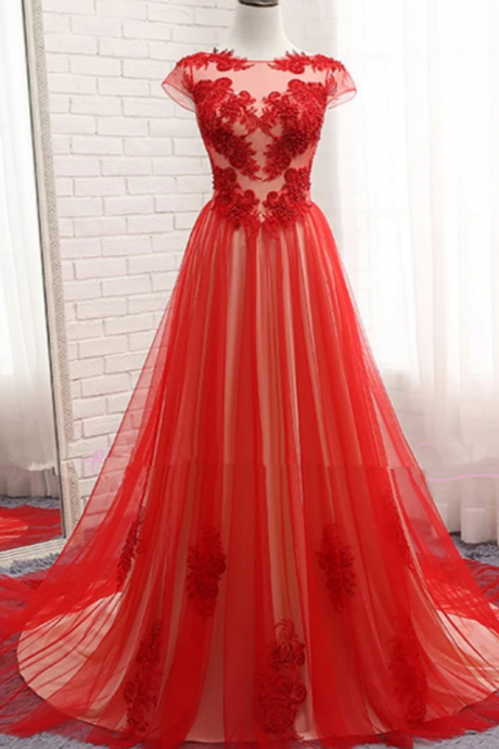 Beautiful Tulle Long Cap Sleeves Evening Gown, Long Prom Dress