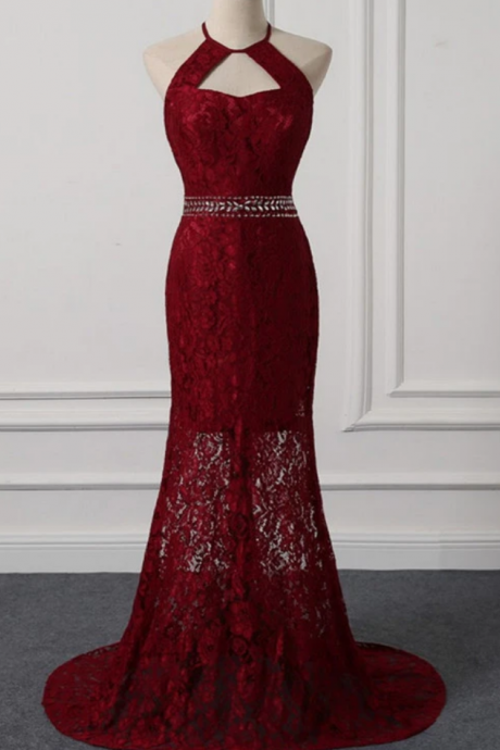 Beautiful Dark Red Lace Halter Beaded Evening Dress, Mermaid Prom Dress