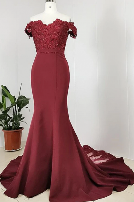 Burgundy Off Shoulder Handmade Mermaid Bridesmaid Dress, Long Prom Dress Evening Dress