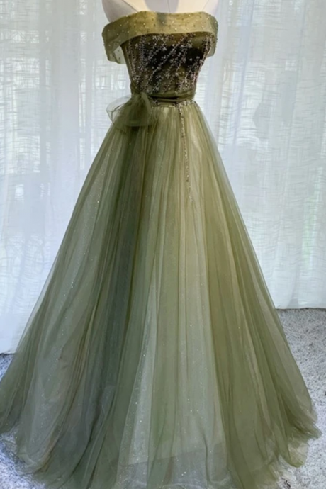 Tulle Scoop Long Party Gown, Bridesmaid Dress