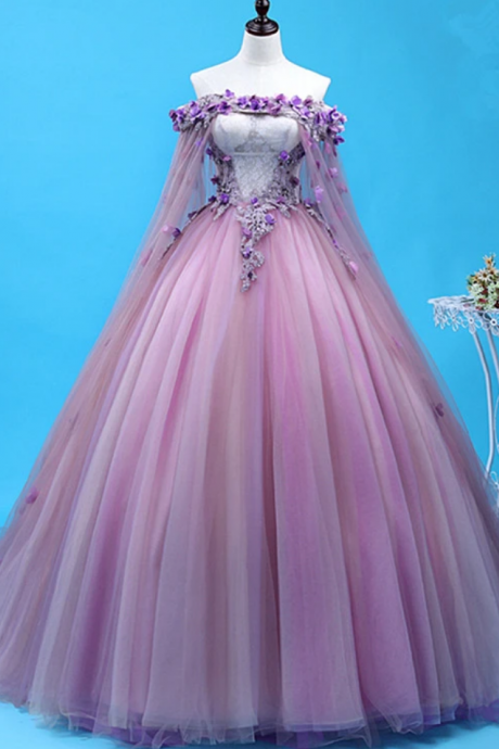 Tulle Long Sweet 16 Gown, Flowers Quinceanera Dress