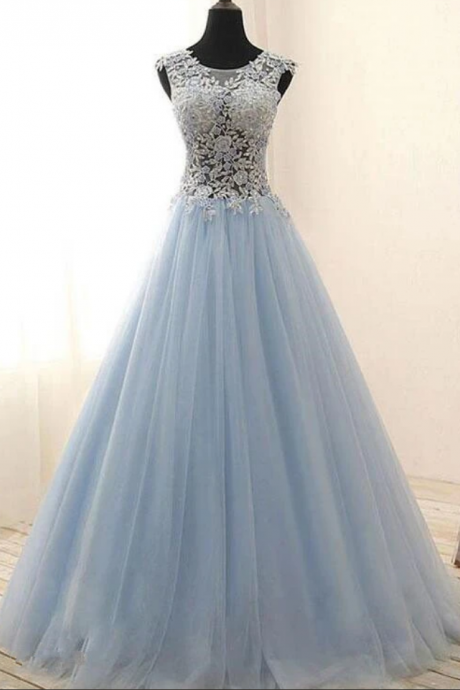 Tulle With Lace Floor Length Party Dress, Blue Prom Dress