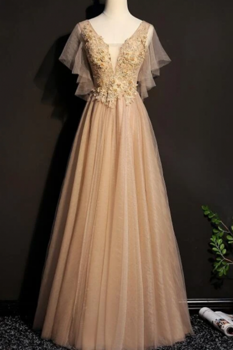 Tulle Long Bridesmaid Dress, Long Formal Gown