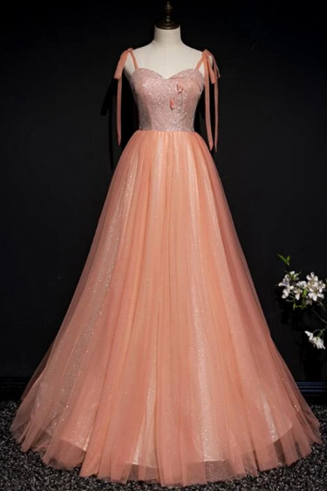 Lovely Tulle Sparkle Straps Long Formal Gown, Prom Dress