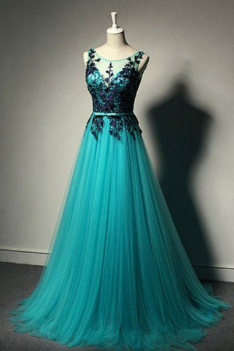 New Fashion, Blue Tulle party dress, Formal Gown,Lace Black Evening Gowns,Tulle Formal Gown For Teens