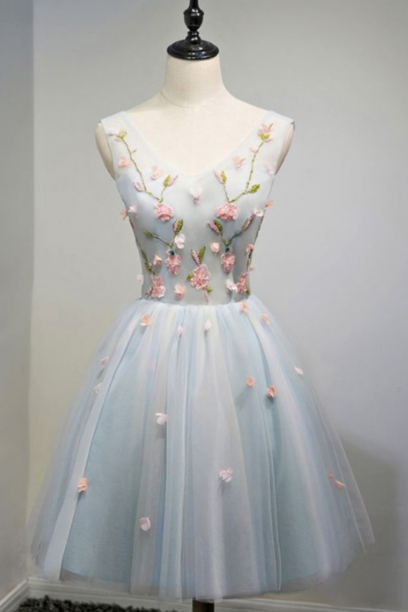Unique ,V-neck, Dusty Blue ,Tulle ,Short, Prom Party Dress With Flowers