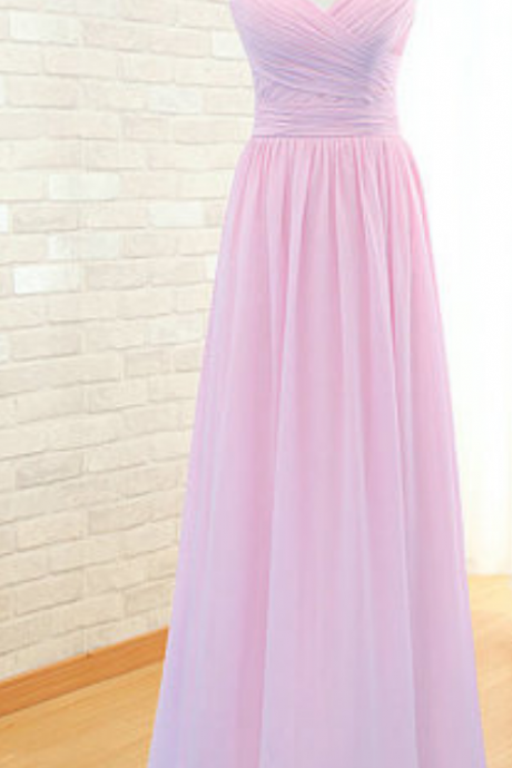 Custom Made Pink V-Neckline Chiffon Long Chiffon Bridesmaid Dress with Draped Detailing
