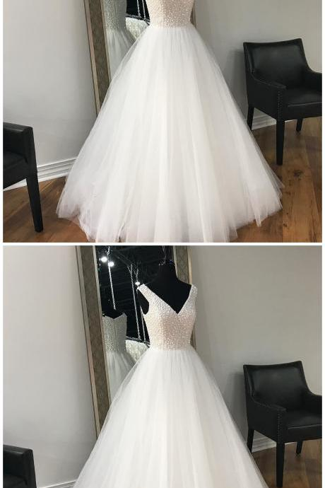 New V Neck White Ivory Wedding Gowns,Wedding Dress, Beaded Wedding Dress, Sleeveless Wedding Dress, A-line Wedding Dress, Floor-length Wedding Dress