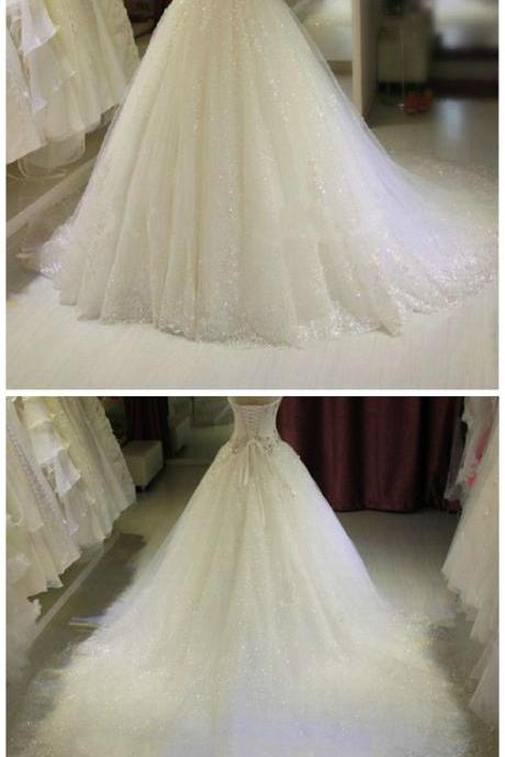 New Sweetheart White Wedding Gowns with Long Train Sparkling Crystal Beaded Ball Gown Bridal Dresses Wedding Dresses with Train