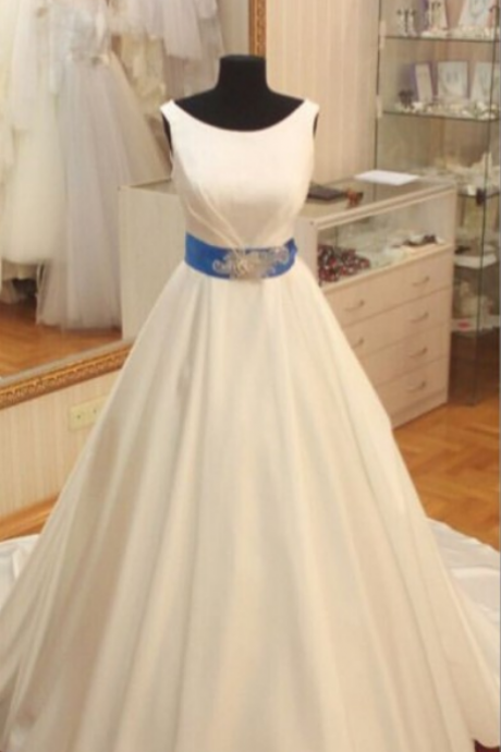 Western Style Wedding Dresses,Noble Wedding Dresses,Sleeveless Wedding Dresses,Satin Wedding Dresses