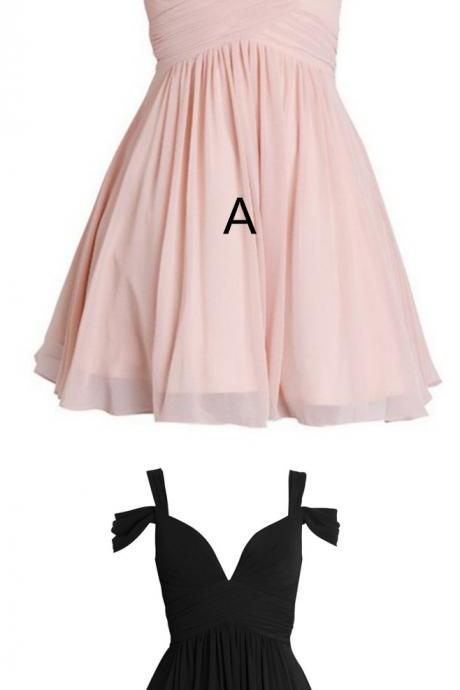 Bridesmaid Dresses,prom Dresses,Simple A-Line Straps Chiffon Short Bridesmaid Dress With Pleats